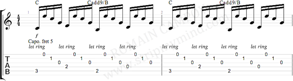 Je l'aime à mourir intro en arpège tablature sous la partition