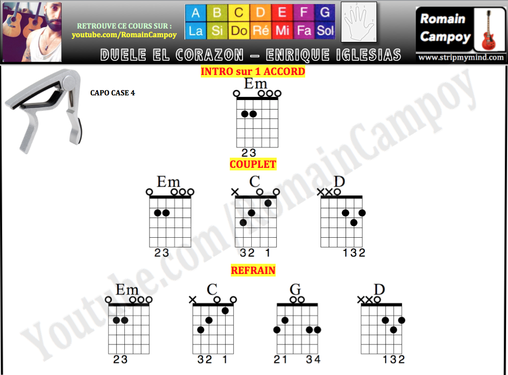 Duele el corazón Enrique Iglesias ft Wisin Letra Lyric Hd:: Duele el corazón accords guitare tuto tutoriel guitare romain campoy cours de guitare grenoble