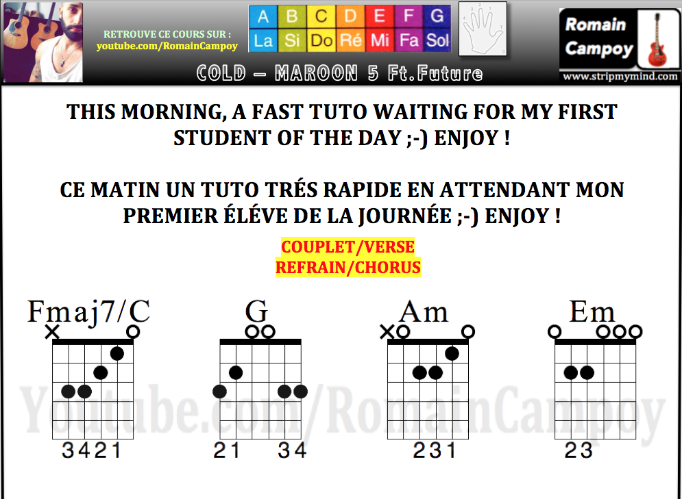 maroon 5 tuto guitar tabs cold feat future tabalture accords romain campoy