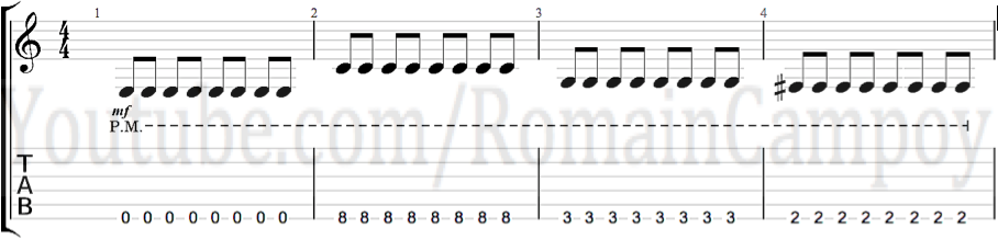 romain campoy cours de guitare sur grenoble tuto guitare cours de guitare débutants technique guitare apprendre le palm muting à la guitare le jeu étouffé morceau débutant guitare